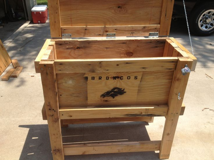 Recycled Wood Cooler Box Denver Broncos Style Bronco