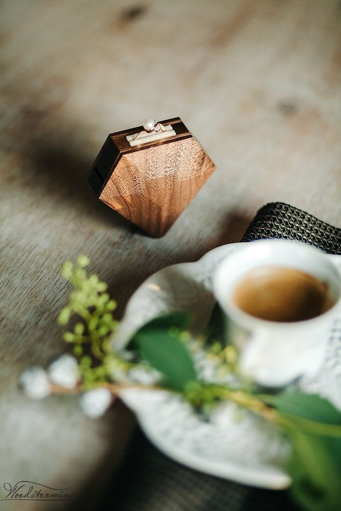 Diamond shape wooden ring box by Woodstorming by Woodstorming