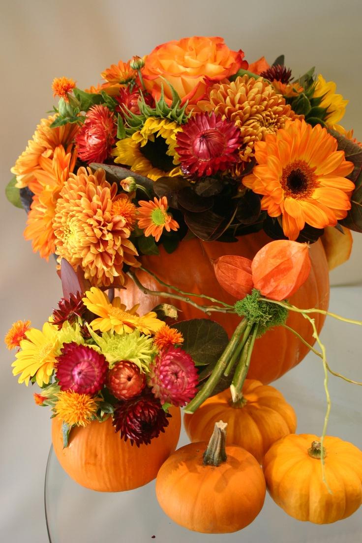 Pumpkin arrangement while at garden party flowers