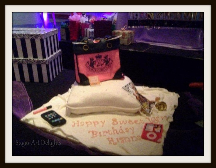 A juicy couture purse cake on a pillow cake