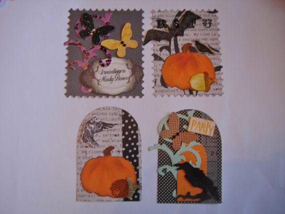 Handmade halloween tags by CraftRain on Etsy