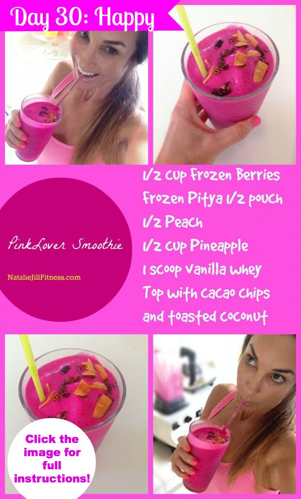 Pink Lover Pre Workout Smoothie! Who loves pink? Who loves smoothies? This one is SO delicious and perfect to make before your workout! ENJOY!