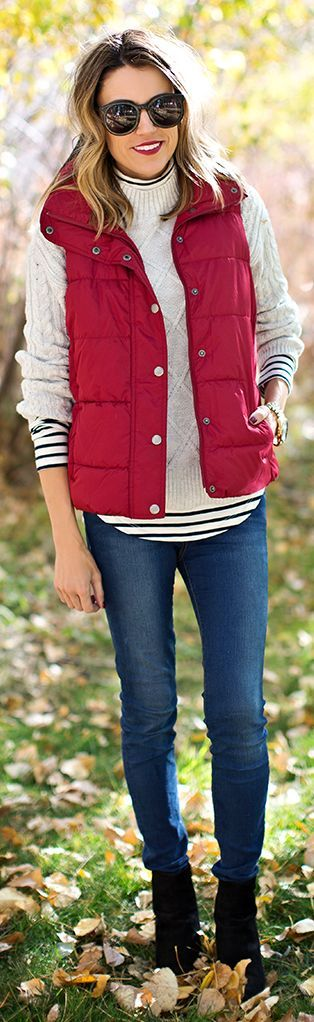Red Puffer Vest by Hello Fashion