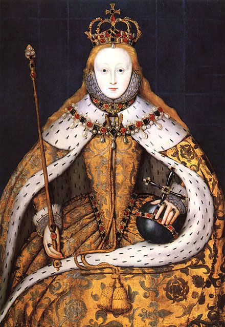 Queen Elizabeth I's coronation portrait - note the symbols of State and the lavish clothing - spectacular. tudor renaissance medieval sca larp jewelry