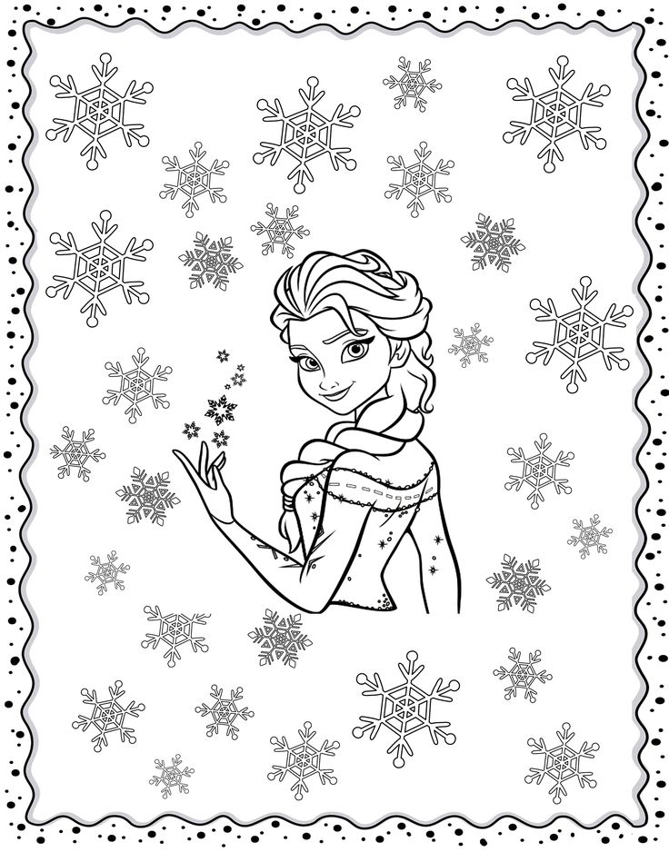 Free Coloring Page Adult Frozen Original Inspired By With Elsa In Middle Of Winter Flakes
