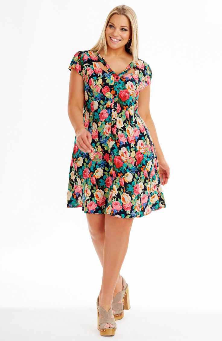 Cut Out Neckline Dress | Dresses | Dream Diva | Plus Size and Larger Sized Clothing for Women