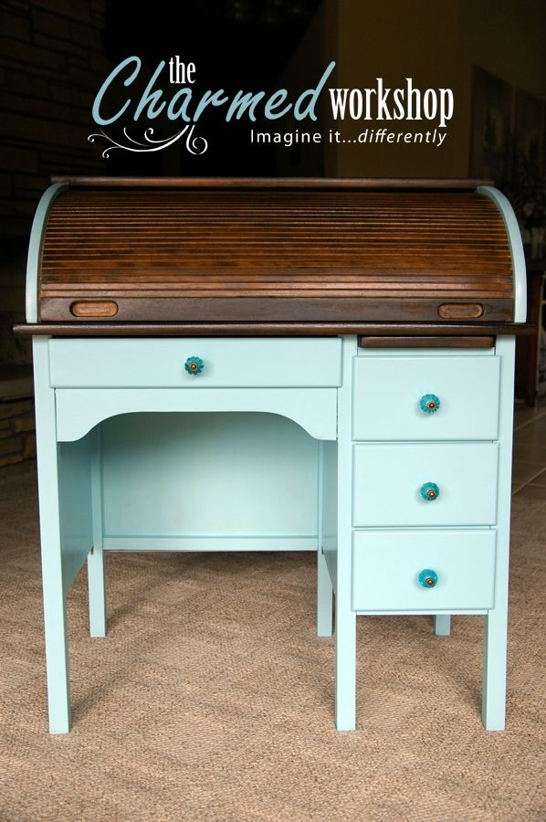 CUSTOM: Custom child-sized rolltop desk gets a glam makeover. Re-loved by The Charmed Workshop. Imagine it...differently.