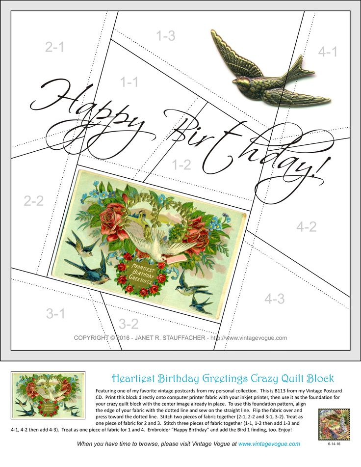 Heartiest Birthday Greetings crazy quilt block design posted on Janet Stauffacher's Nostalgic NeedleART blog on 6/18/16.