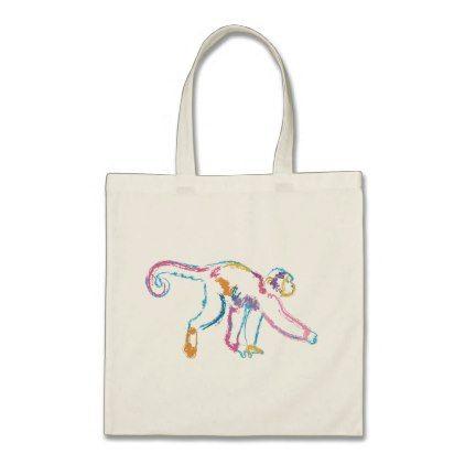 Rainbow Monkey Tote Bag - animal gift ideas animals and pets diy customize