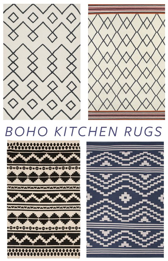 neutral boho patterned rugs for quick kitchen update