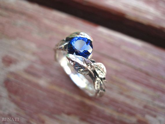 Leaf Ring In 14k White Gold With Lab Blue Sapphire, Leaves Ring, Friendship Ring, New Designer Gold Ring, Forest Ring, Natural Floral Ring