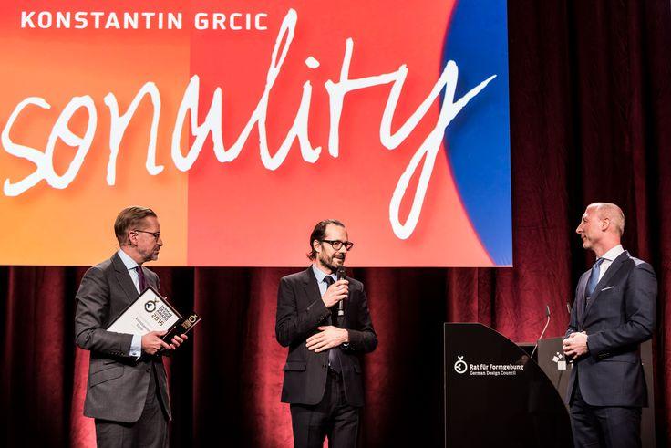 German Design Award Personality 2016 for Konstantin Grcic Prof.  Dr. René Spitz, Konstantin Grcic and Andrej Kupetz (German Design Council).