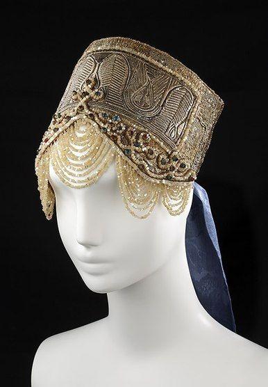 Russian folk headdress (kokoshnik) with draped beads.