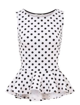 Monochrome Flocked Spot Dip Hem Peplum Top