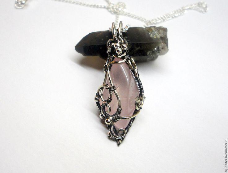 """Купить Кулон """"Стрела Амура"""" - розовый, серебряный, украшения из проволоки, украшения ручной работы"""