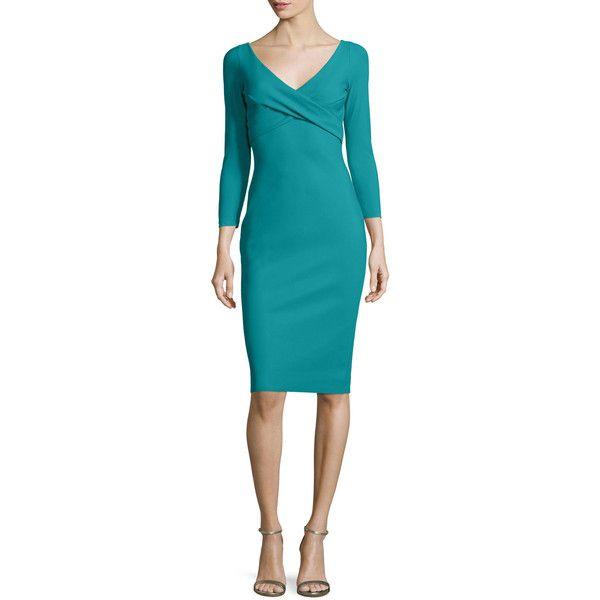 La Petite Robe Di Chiara Boni Melly Overlap Sheath Dress ($325) ❤ liked on Polyvore featuring dresses, verde gree, women's apparel dresses, blue sleeve dress, sleeved dresses, surplice dresses, sleeve cocktail dress and blue cocktail dresses