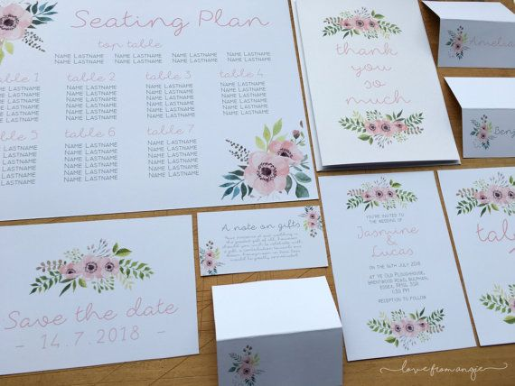 Seating Plan A4 Table Numbers Wedding Stationery Set Pink Peach Fl Design