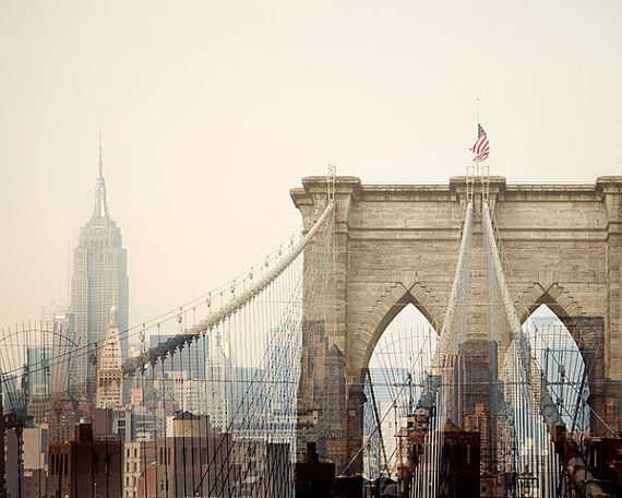 New York City Photography, Brooklyn Bridge and Empire State Building, 8x10 NYC Art Print, Manhattan, Pastel, Pink - Dreams of Cities