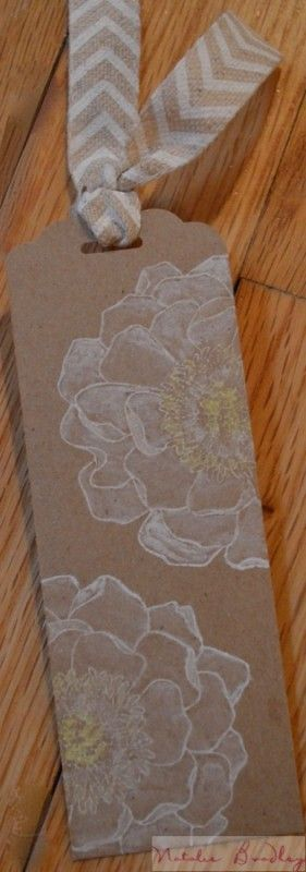 natalie bradley, floral watercolored bookmark, stampin up bookmark