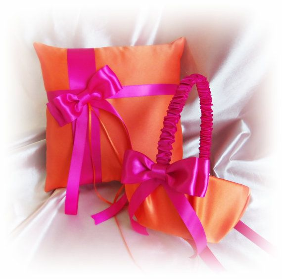Orange and Hot Pink Wedding Ring Pillow and Flower by All4Brides, $65.00