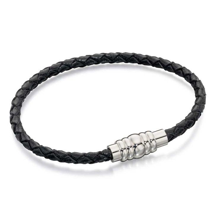 Fred Bennett Stainless Steel Black Leather Magnetic Bracelet B4726 | The Jewel Hut