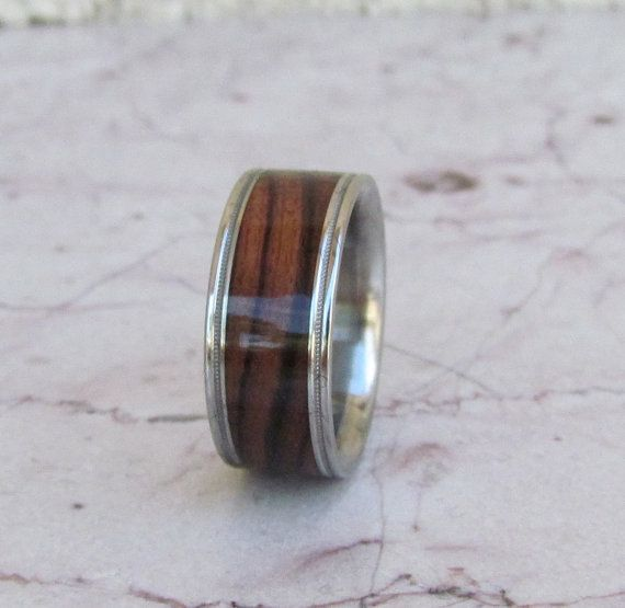 Pure Tungsten Wood Ring Exotic Kingwood Wooden Band Mens or Ladies Wedding Ring Milgram Edge - Bands Available in size 4-18 Rings