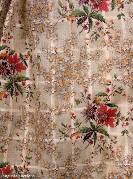ROLLER PRINTED SHEER COTTON DRESS, 1838-1842