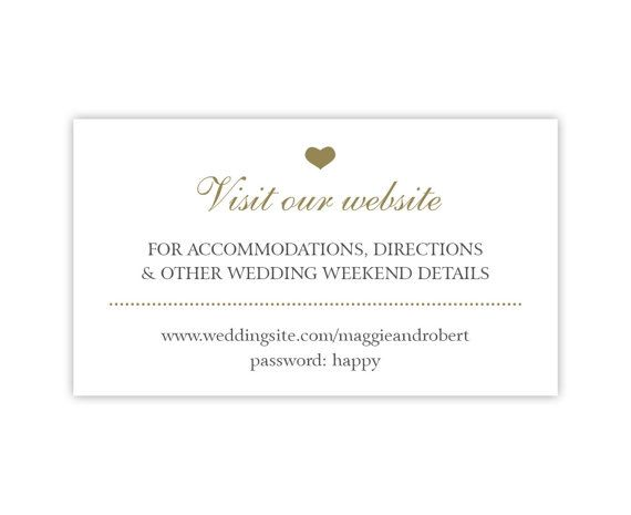 Simple Wedding Enclosure Card White & Gold Wedding by PaperInkLove, $25.00