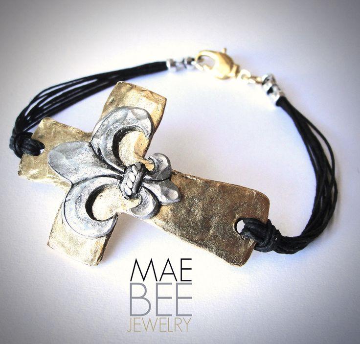Love! Sideways #Cross & Fleur de Lis #bracelet on black linen from JewelryByMaeBee on #Etsy.