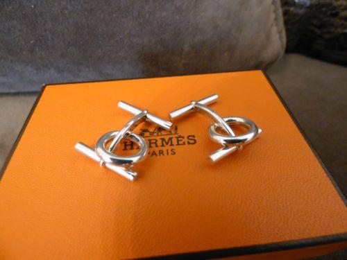Authentiques-Boutons-de-manchette-Hermes-Mini-Chaine-dAncre-Argent-Neufs