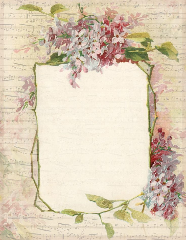 Spring Lilacs & Music ~ free printable stationery, featuring a lilac border and French sheet music.