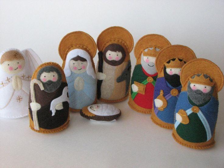 Full Nativity Felt Saint Softie Set STANDING. $156.50, via Etsy.