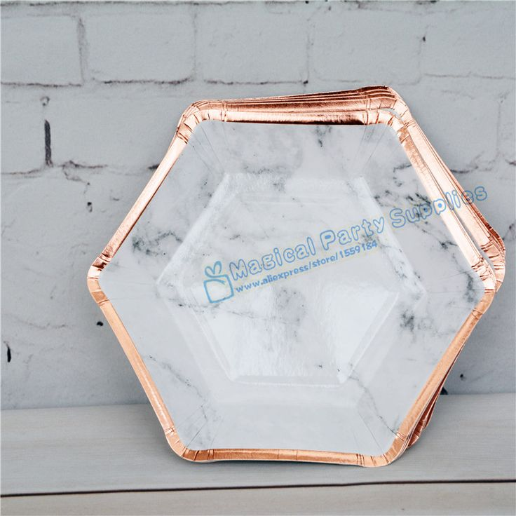 400pcs Marble and Metallic Rose Foil Gold Party Plates Wedding Bridal Shower Baby Shower Tableware Modern Hexagon Paper Plates-in Disposable Party Tableware from Home & Garden on Aliexpress.com | Alibaba Group