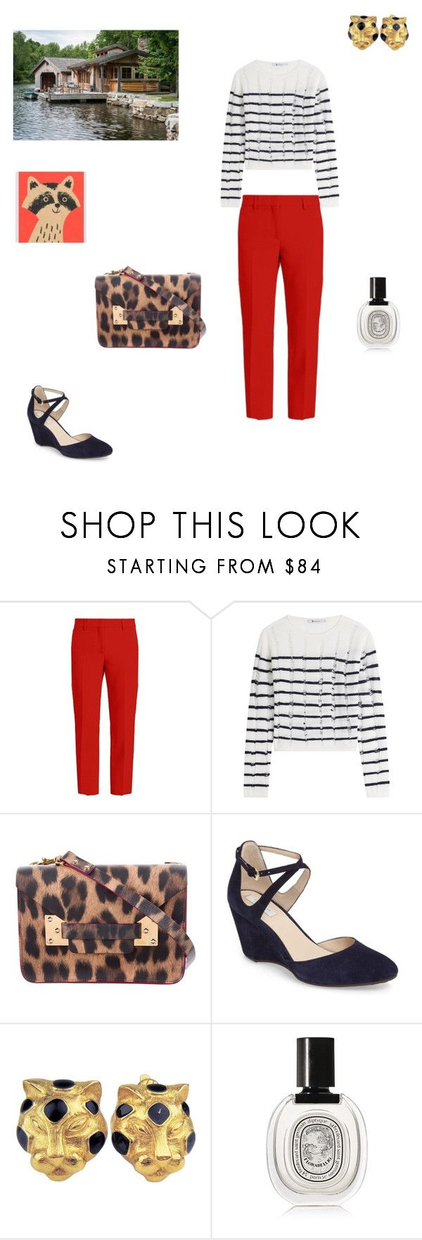 """""""Return to the city after a rest in a summer cottage"""" by lorablack ❤ liked on Polyvore featuring MSGM, T By Alexander Wang, Sophie Hulme, Cole Haan, Trifari, Diptyque and Lisa Jones Studio"""
