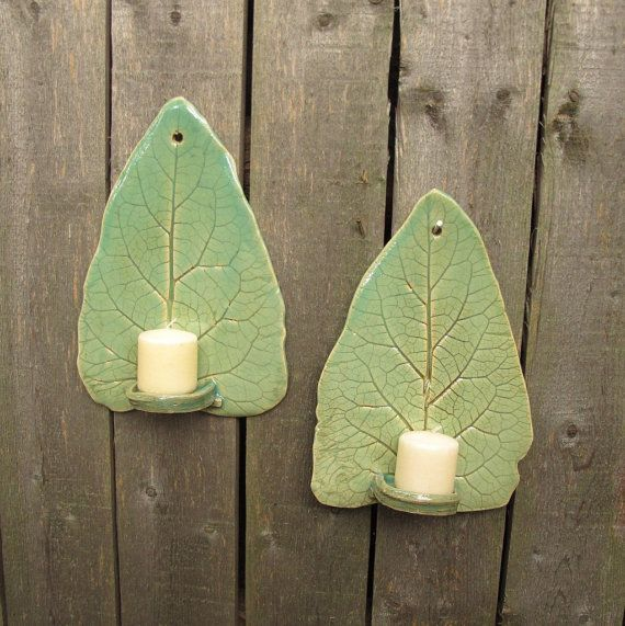 Handbuilt Tall Leaf Clay/Pottery Wall Hanging Candle Sconces/ Holders in Light Green Celadon, set of 2 on Etsy, $32.00