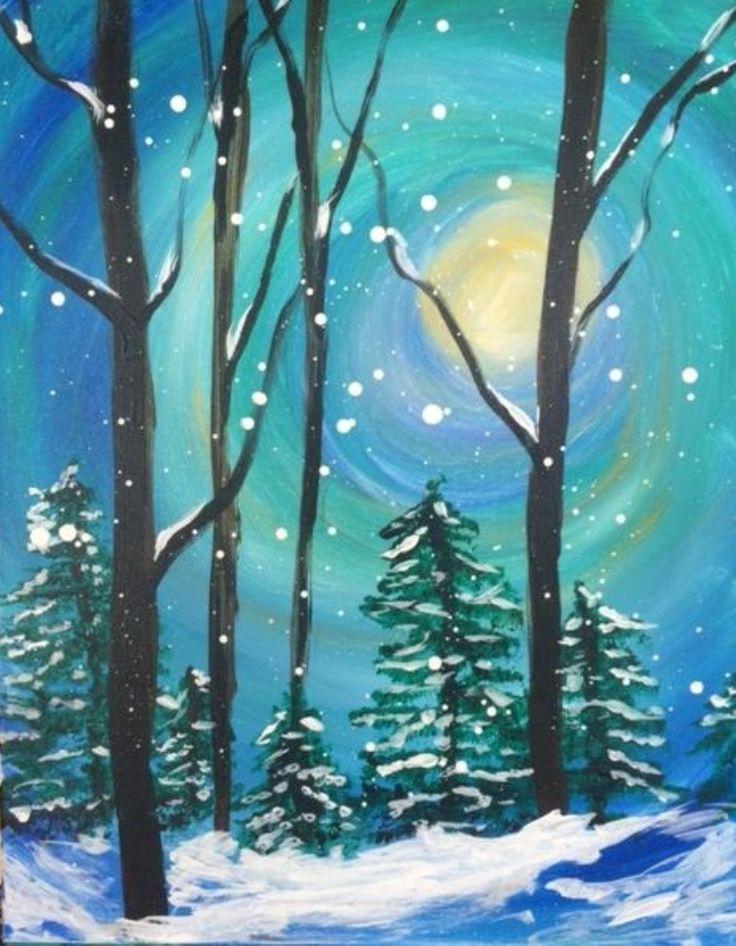Resultado De Imagen De Easy Winter Scenes To Paint Winter Scene Paintings Winter Painting Winter Scenes To Paint