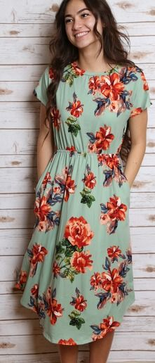 Mint floral midi - for when I get my waist back