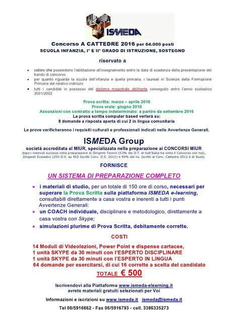 SCUOLA COUNSELING Roma -Counseling Scolastico A.I.C.I schoolcounseling: CONCORSO A CATTEDRE 2016 ISMEDA GROUPwww.ismeda.i...