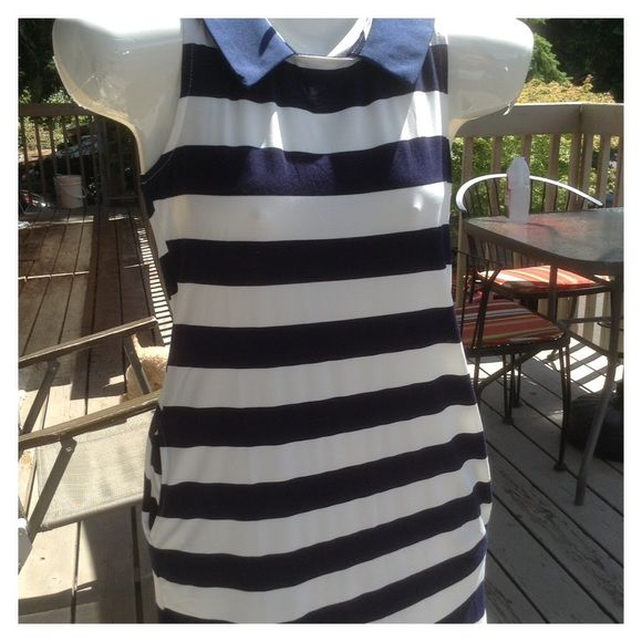 Navy & White Striped Summer Dress. Lightweight sleeveless summer dress in navy and white. Inset pockets on both sides.  Pre-loved in new condition. I purchased this from the lovely Wendy Gonzales right here on Poshmark!🌟🌟🌟🌟🌟 Unfortunately I put on a few pounds and it's a tad small now😕.  Will fit a size Small or a Small/Medium. Fabric is a Poly Cotton blend & Has some stretch. Cloud 9 Dresses