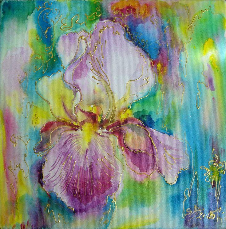Iris- mixed media, 30/30 cm, 2015, Derecichei Simona Mihaela