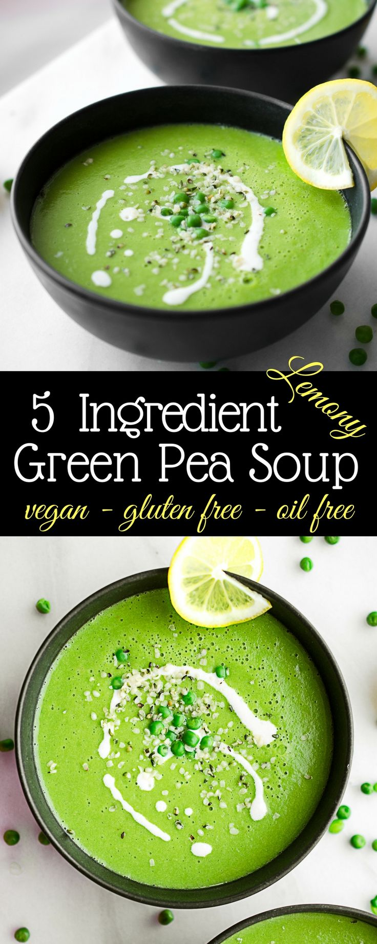 Healthy vegan Green Pea Soup! This 5 Ingredient healthy soup is simple yet satisfying! Vegan gluten free soup, easy soup recipes! Gluten free vegan plant based recipes!