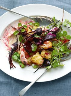 crispy potato, trout and beetroot salad