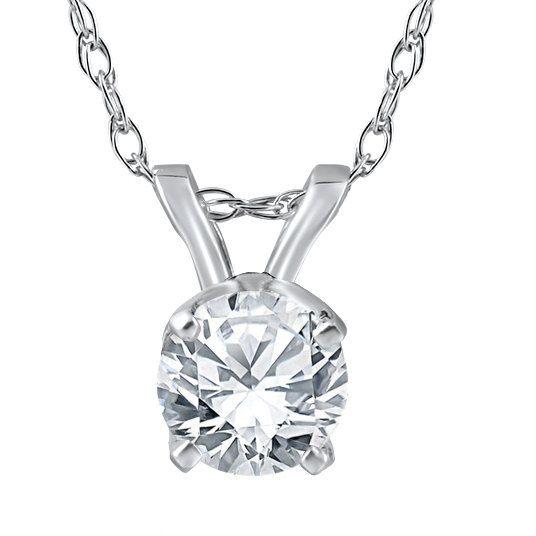 Solitario diamante colgante 14K oro blanco 1 / 4CT ronda