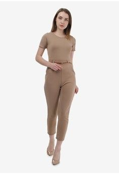 Wanita > Pakaian > Playsuits & Jumpsuits > Jumpsuits > Brown Jumpsuit with Belt > Shop at Banana
