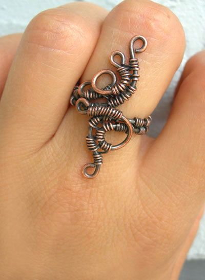 Wire wrapped ring boho ring cool ring magical by Kissedbyclover,
