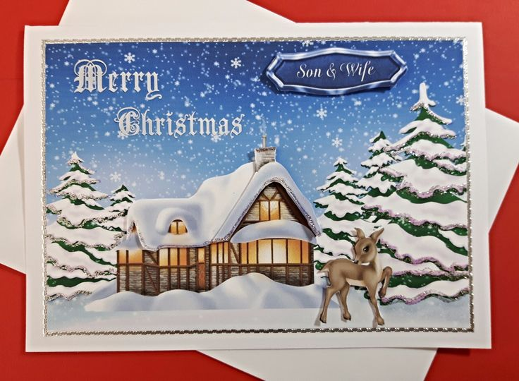 Christmas card for Son & Wife with cosy cottage & reindeer