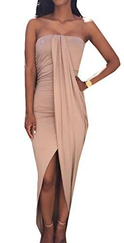 New Trending Formal Dresses: Oberora Womens Basic Strapless Bodycon Split Tube Maxi Chiffon Dress Khaki L. Oberora Womens Basic Strapless Bodycon Split Tube Maxi Chiffon Dress Khaki L  Special Offer: $11.01  133 Reviews if products is defective or damage upon arrival, or wrong product shipped, pls contact us immediately, we will do give you satisfactory solution.Thank you for your...