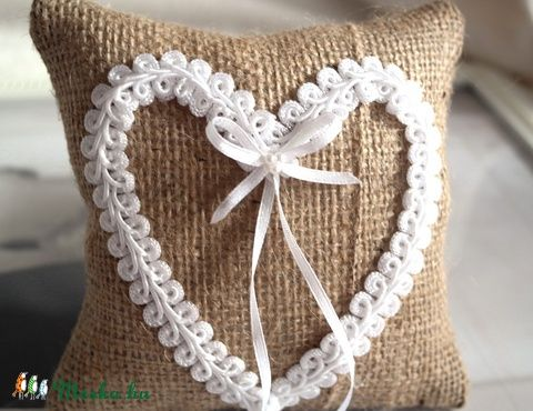 Meska - Vintage szív gyűrűpárna  Aggies kézművestől