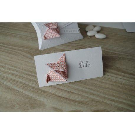 Marques place renard en origami orange pour baptême - anniversaire -décoration de table de fête