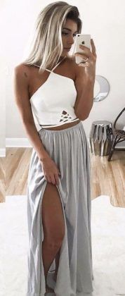grey maxi skirt + white top / #summer #outfits